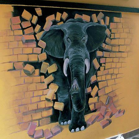 Elephant Breaking Through The Wall By Alek Krylow